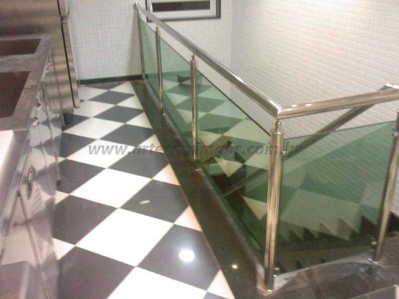 Corrimao Inox guarda corpo de vidro