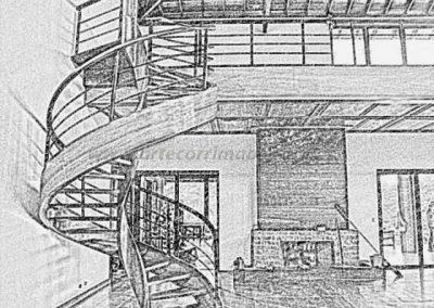 Escada Helicoidal de Madeira desenho