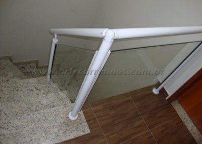 Guarda Corpo Aluminio Branco 2´´ com vidro 8 mm temperado