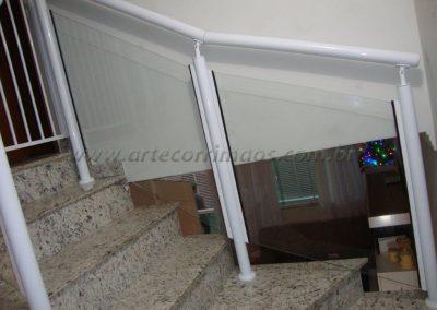 Guarda Corpo de Aluminio Branco 2´´ com vidro 8 mm temperado
