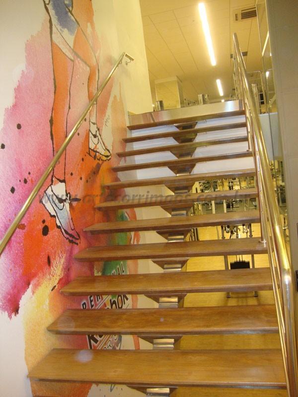 Escada madeira com aço inox