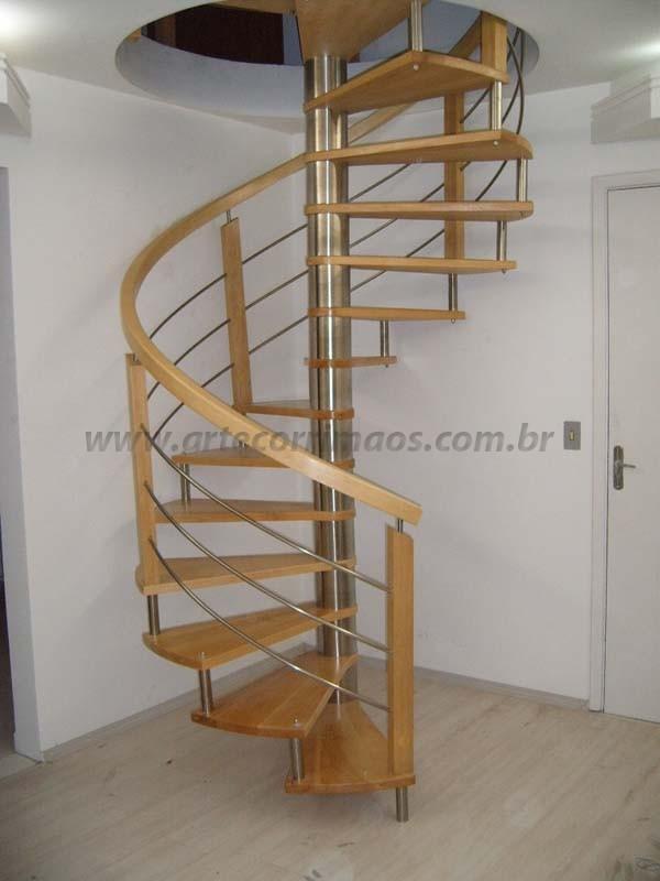 escada madeira e inox especial