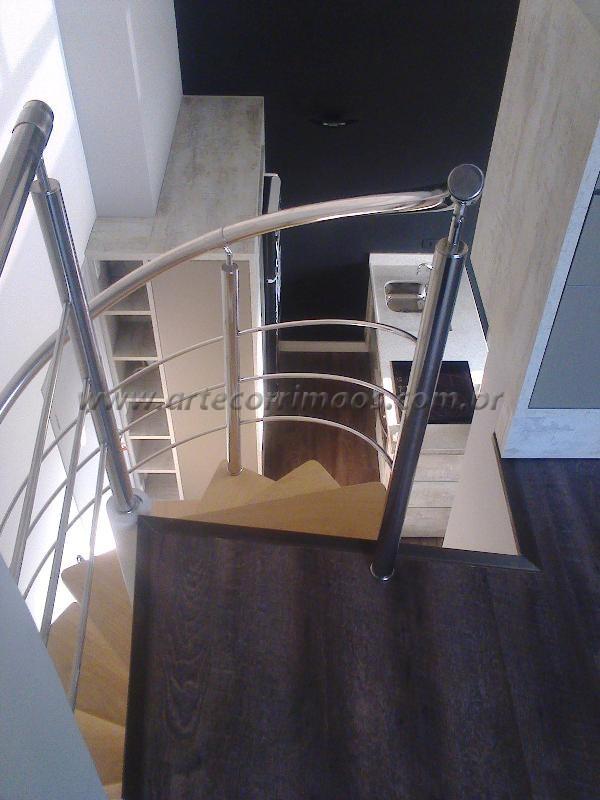 Guarda corpo Curvo escada caracol-K corrimao inox