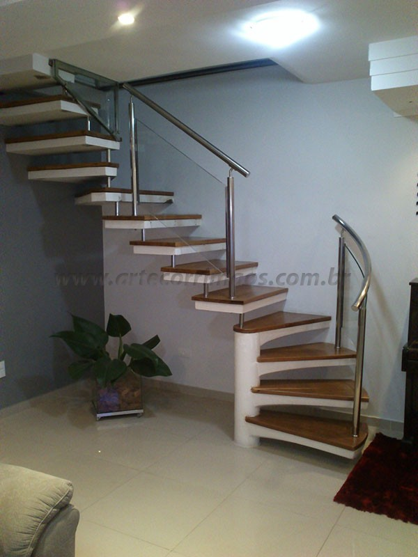 corrimao inox e escada