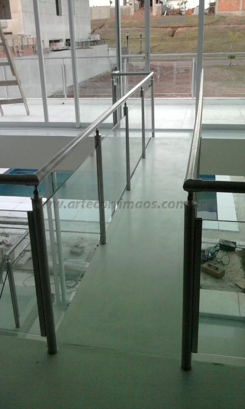 corrimaos de inox e vidro