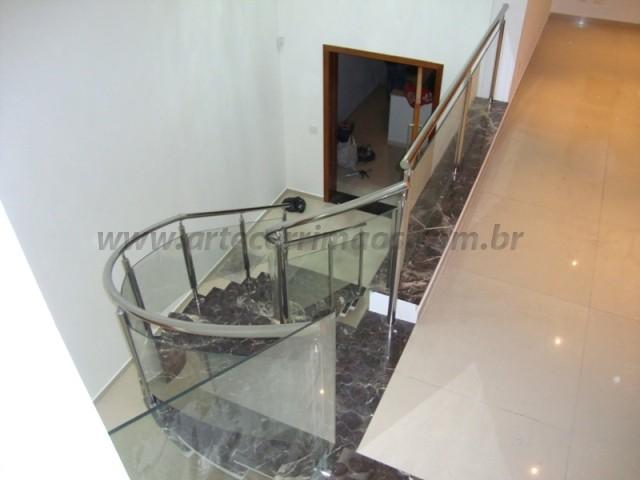 corrimao de aço inox com vidro