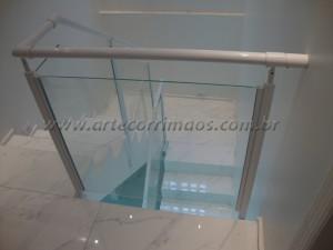Guarda Corpo Aluminio Branco vidro incolor 8 mm