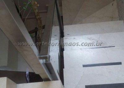 Guarda Corpo Aço Inox Escovado Quadrado e Retangular de escada