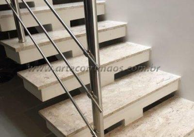Guarda corpo Inox para escada em 3 barrinhas aço inox