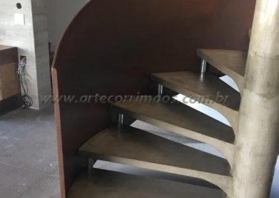 guarda corpo curvo Escada com chapa caracol Aço corten
