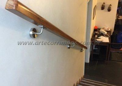 corrimão de parede de madeira suporte aço inox