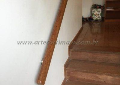 corrimão de parede de madeira suporte em inox
