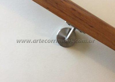 suporte inox corrimão de parede de madeira