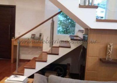 Escada guarda corpo de aço inox vidro e madeira